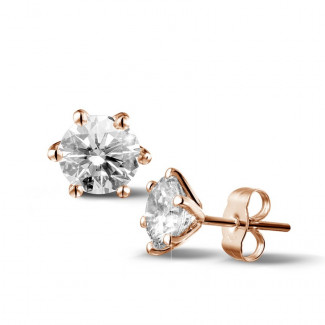 2.50 carat classic diamond earrings in red gold with six studs