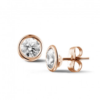 1.50 carat diamond satellite earrings in red gold