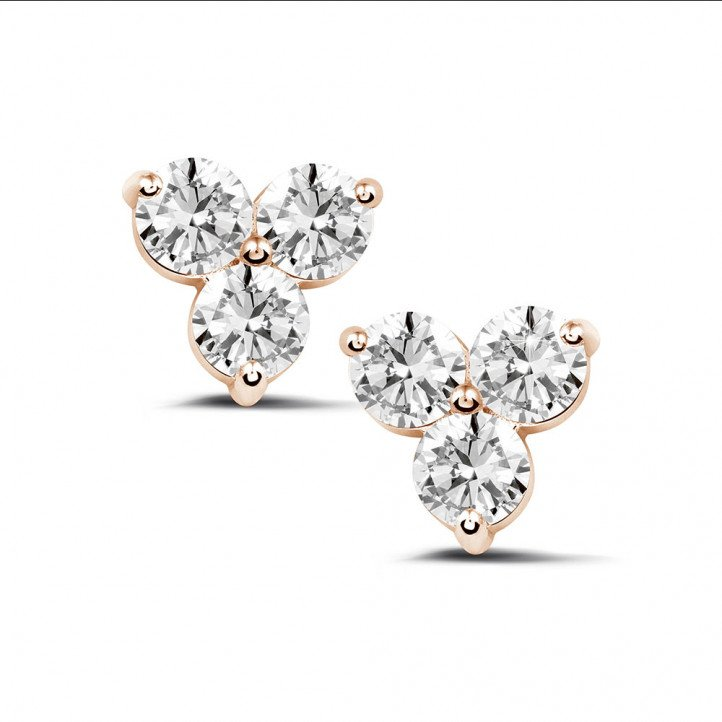 2.00 carat diamond trilogy earrings in red gold
