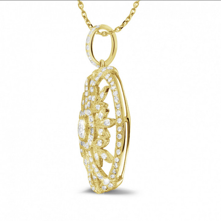 0.90 carat diamond pendant in yellow gold