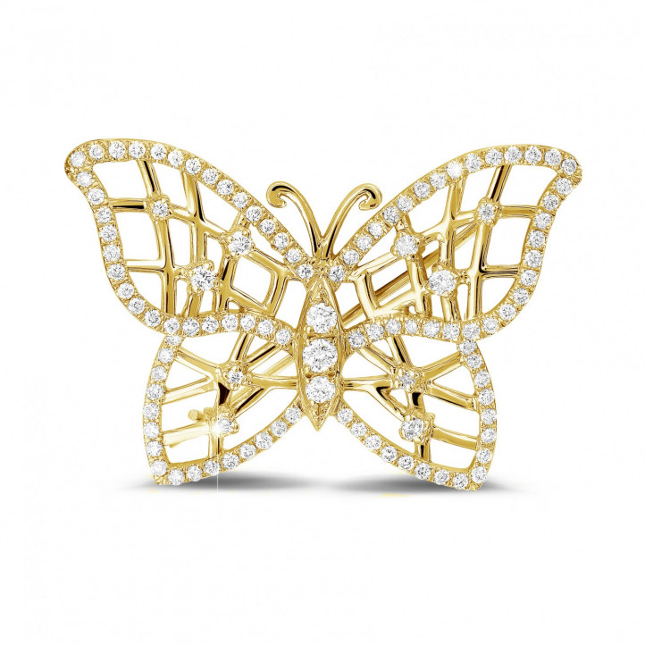 0.90 carat diamond design butterfly brooch in yellow gold