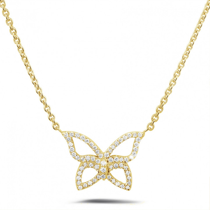 0.30 carat diamond design butterfly necklace in yellow gold