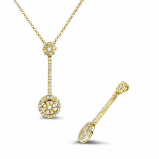 Diamond Pendants - 0.90 carat diamond halo pendant in yellow gold