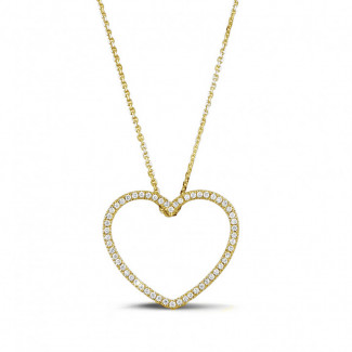 Yellow Gold Diamond Necklaces - 0.45 carat diamond heart shaped pendant in yellow gold