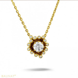 Yellow Gold Diamond Necklaces - 0.75 carat diamond design pendant in yellow gold