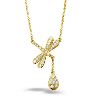 Yellow Gold Diamond Necklaces - 0.36 carat diamond dragonfly necklace in yellow gold