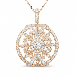 Diamond Pendants - 0.90 carat diamond pendant in red gold