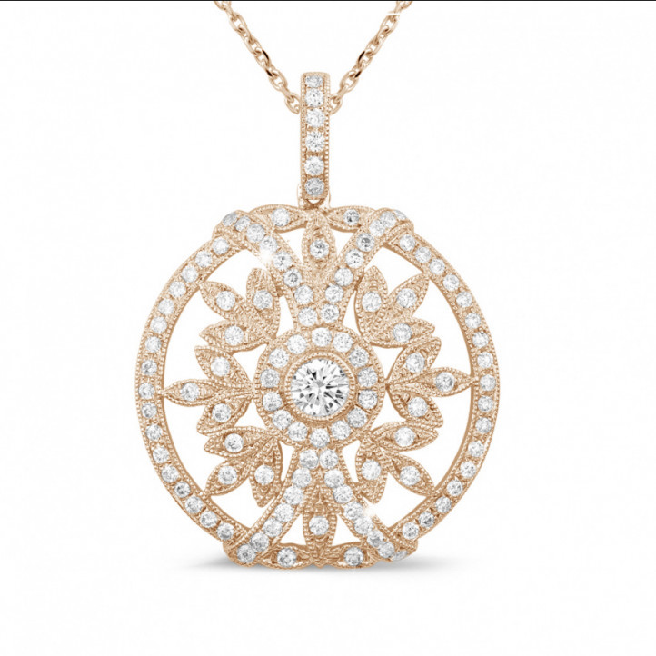 0.90 carat diamond pendant in red gold