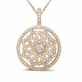 1.10 carat diamond pendant in red gold
