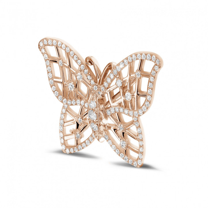 0.90 carat diamond design butterfly brooch in red gold