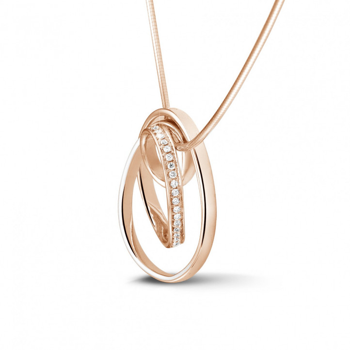 0.48 carat diamond design pendant in red gold