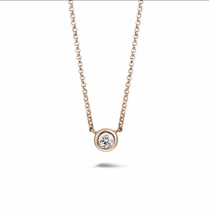 0.30 carat diamond satellite pendant in red gold