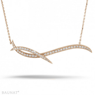 1.06 carat diamond design necklace in red gold