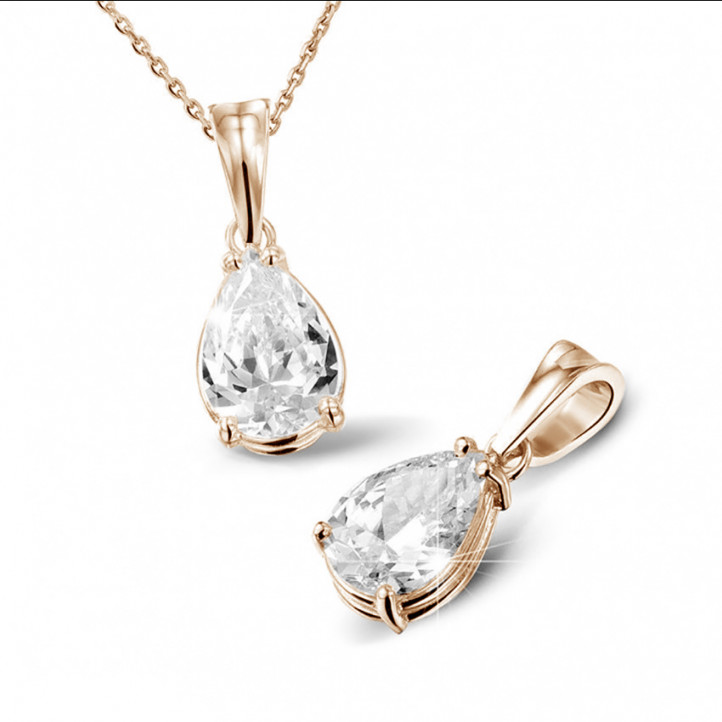 2.00 carat red golden solitaire pendant with pear shaped diamond