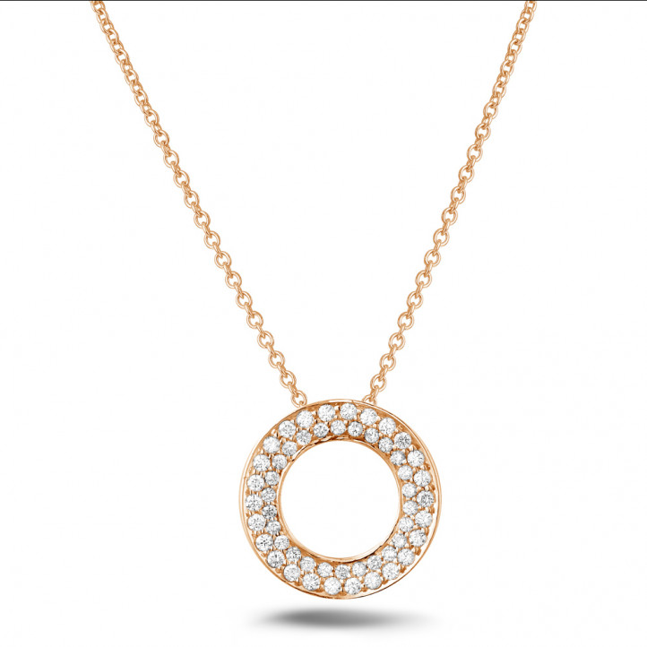 0.34 carat diamond necklace in red gold