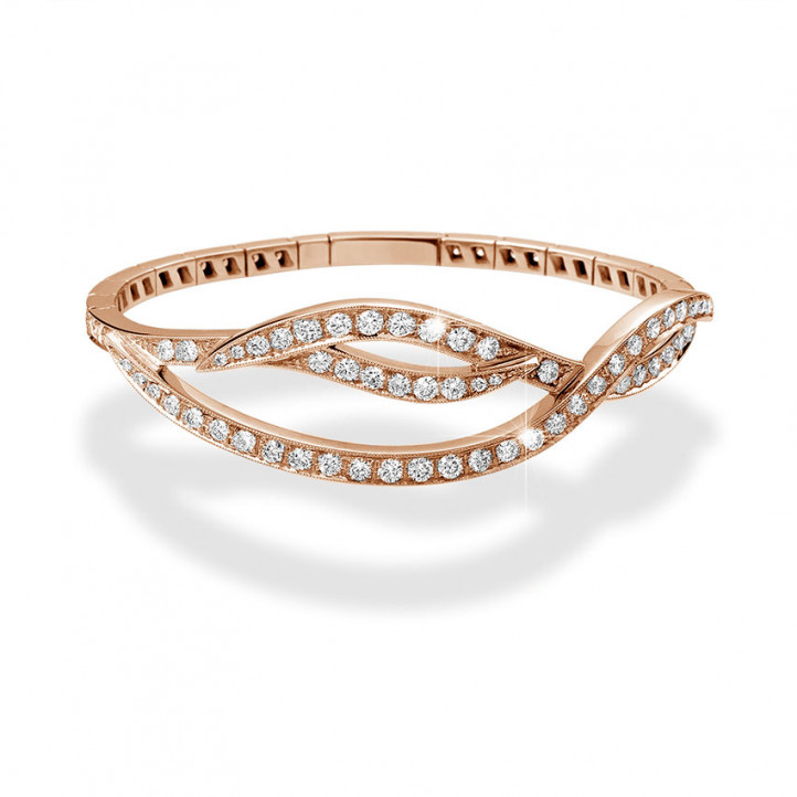 3.86 carat diamond design bracelet in red gold