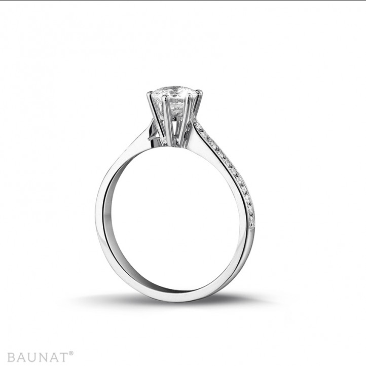 0.75 carat solitaire diamond ring in white gold with side diamonds
