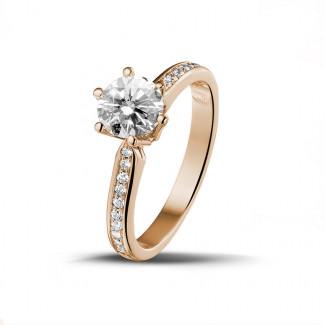Red Gold Diamond Engagement Rings - 0.90 carat solitaire diamond ring in red gold with side diamonds