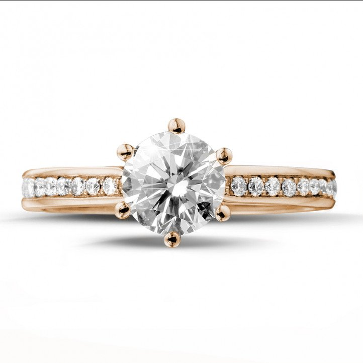 1.00 carat solitaire diamond ring in red gold with side diamonds
