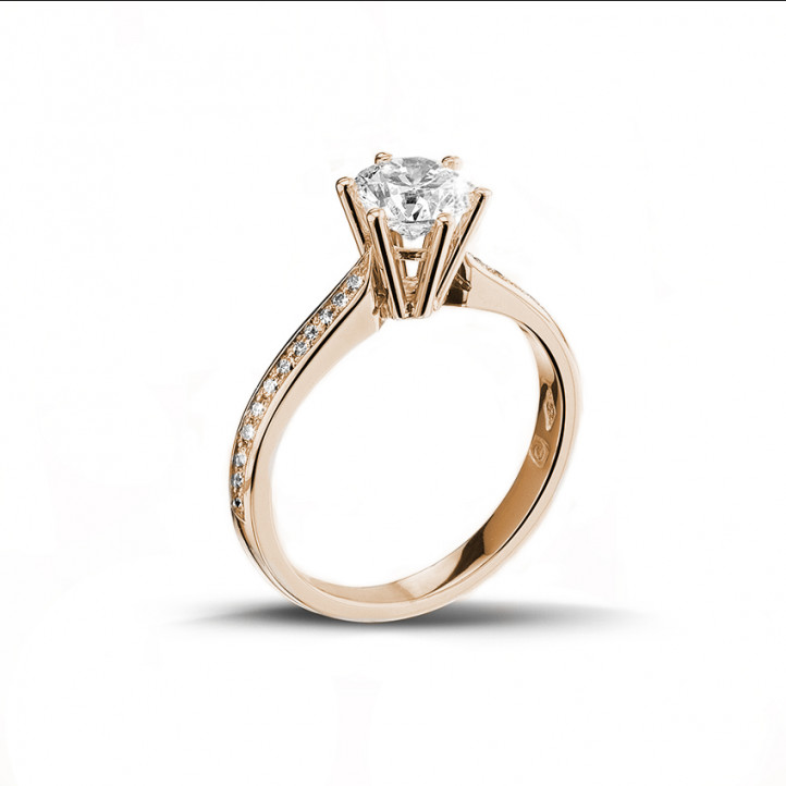 1.25 carat solitaire diamond ring in red gold with side diamonds
