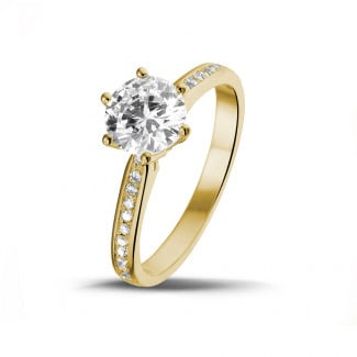 1.25 carat solitaire diamond ring in yellow gold with side diamonds