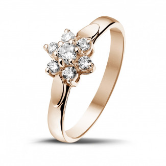 Red Gold Diamond Rings - 0.30 carat diamond flower ring in red gold