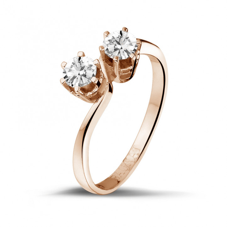 0.50 carat diamond Toi et Moi ring in red gold
