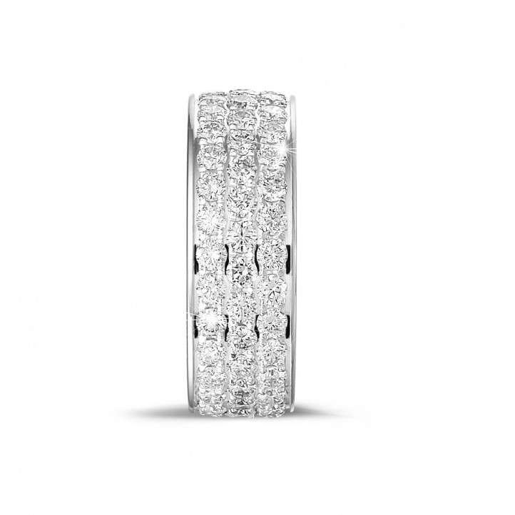 1.70 carat eternity ring (full set) in platinum with three rows of round diamonds
