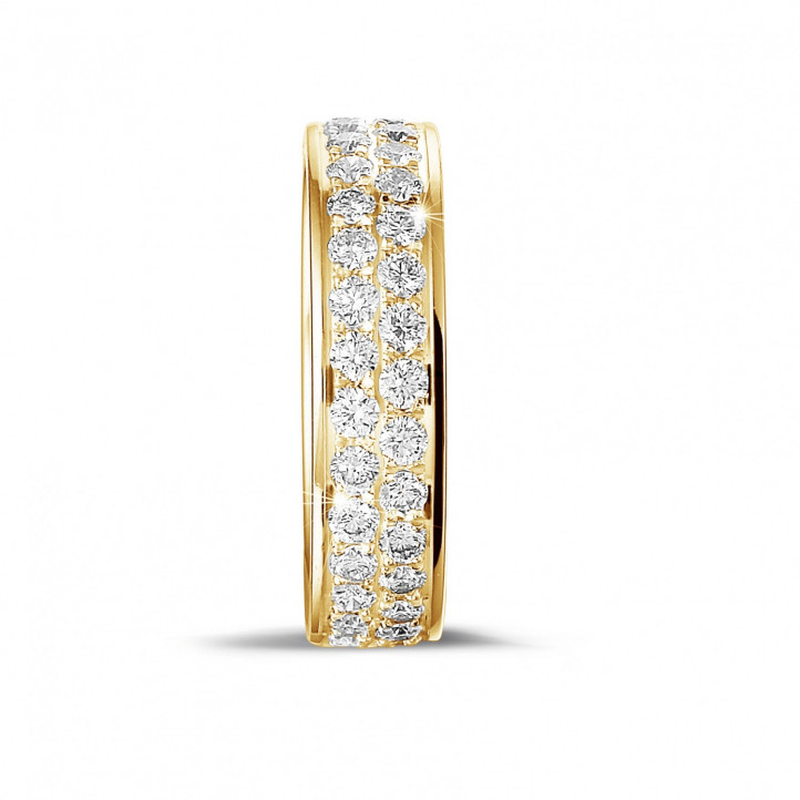 1.15 carat eternity ring (full set) in yellow gold with two rows of round diamonds