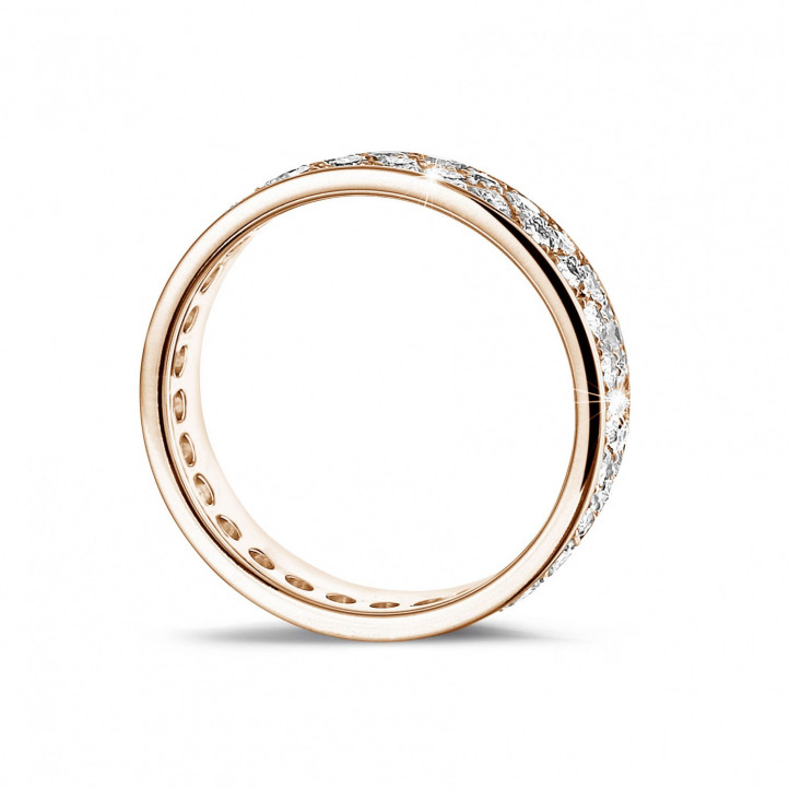 1.15 carat alliance in red gold with two rows of round diamonds