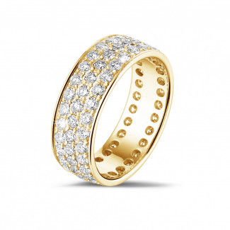 1.70 carat eternity ring (full set) in yellow gold with three rows of round diamonds