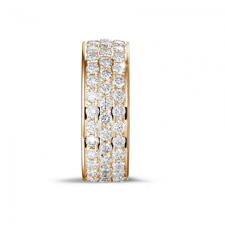 1.70 carat eternity ring (full set) in red gold with three rows of round diamonds