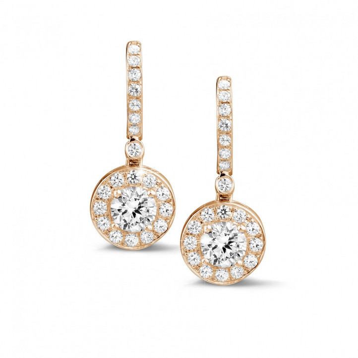 1.55 carat diamond halo earrings in red gold