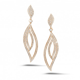 2.35 carat diamond leaf earrings in red gold