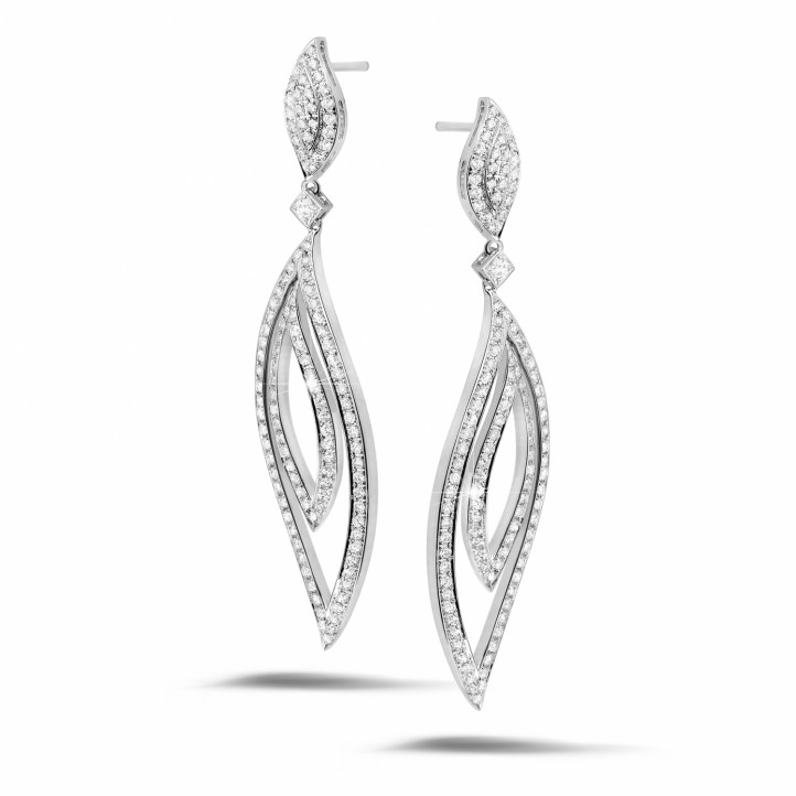 2.35 carat diamond leaf earrings in white gold