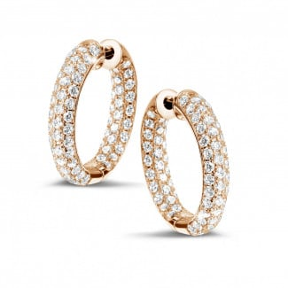 Timeless - 2.15 carat diamond creole earrings in red gold