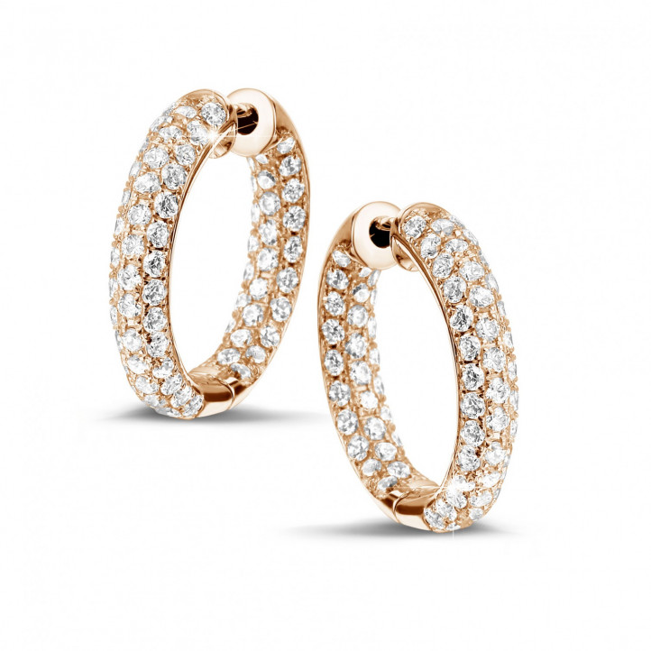 2.15 carat diamond creole earrings in red gold