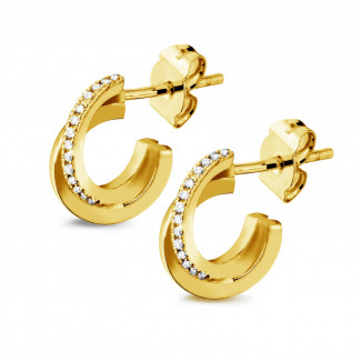 Yellow Gold - 0.20 carat diamond design earrings in yellow gold