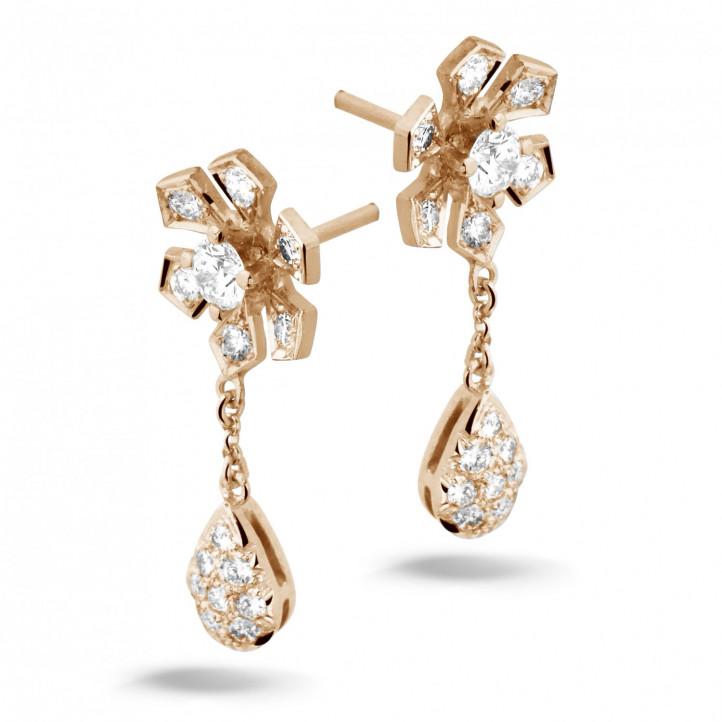 0.90 carat diamond flower earrings in red gold
