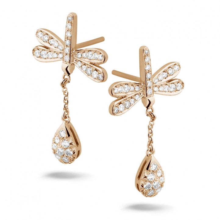 0.70 carat diamond dragonfly earrings in red gold