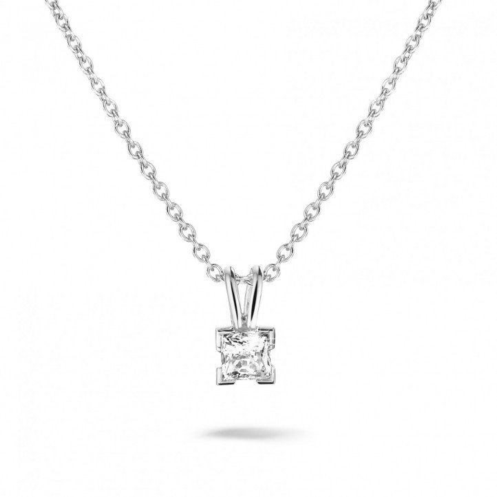 0.50 carat solitaire pendant in white gold with princess diamond
