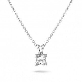 Diamond Pendants - 0.70 carat solitaire pendant in white gold with princess diamond