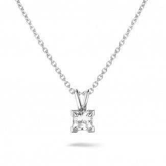 White Gold Diamond Necklaces - 0.70 carat solitaire pendant in white gold with princess diamond