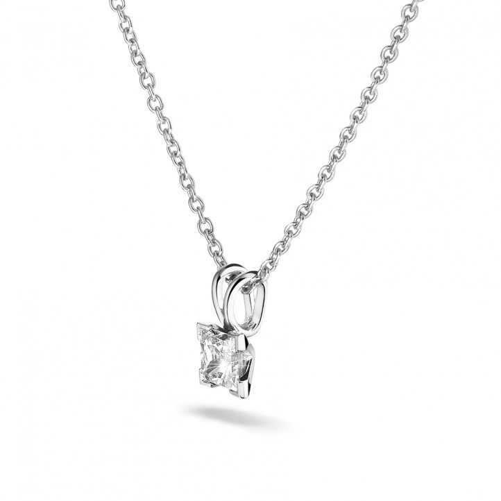 0.70 carat solitaire pendant in white gold with princess diamond