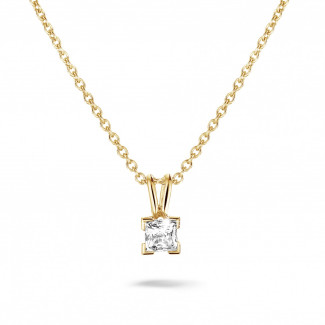 Yellow Gold Diamond Necklaces - 0.70 carat solitaire pendant in yellow gold with princess diamond