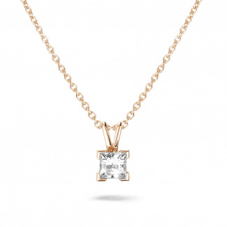 Diamond Pendants - 0.70 carat solitaire pendant in red gold with princess diamond