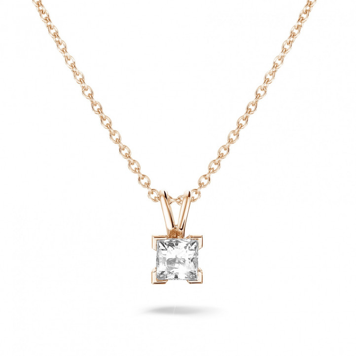 0.70 carat solitaire pendant in red gold with princess diamond