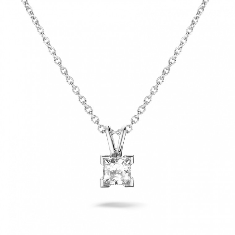 Collections 070 carat solitaire pendant in platinum baunat 070 carat solitaire pendant in platinum with princess diamond aloadofball Images