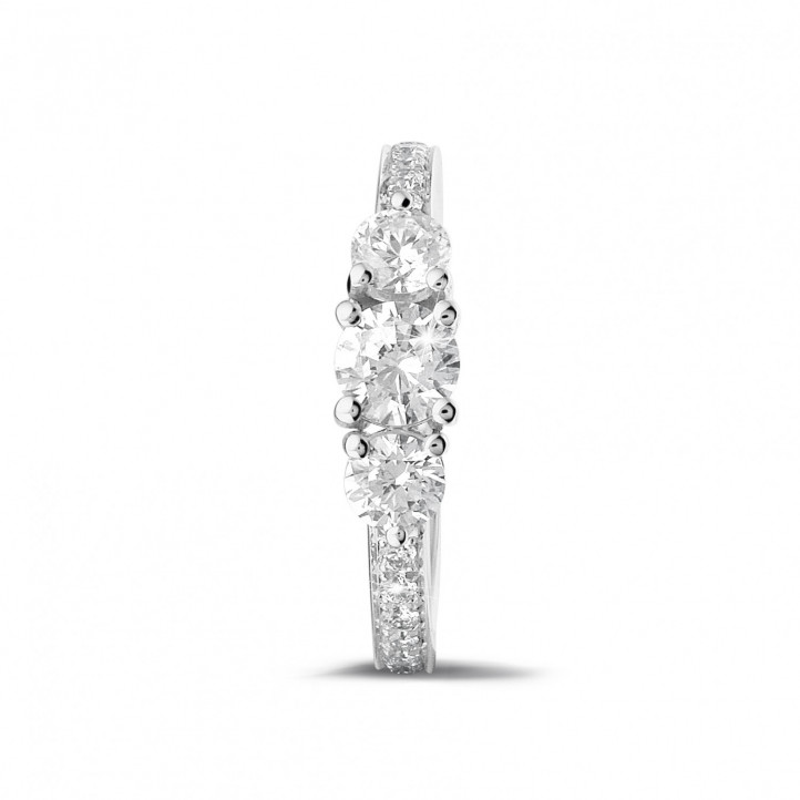 1.10 carat trilogy ring in white gold with side diamonds