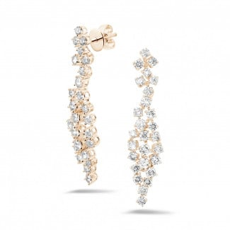 Artistic - 2.90 carat diamond earrings in red gold